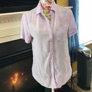 Joe Fresh Light Purple Short Sleeve Button Up Top